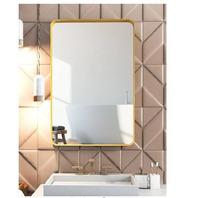 35 in. W x 24 in. H Framed Rectangle Bathroom Vanity Mirror (Gold)
