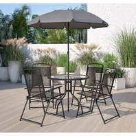 6 Piece Black Patio Garden Set with Umbrella Table & 4 Folding Chairs ( SEE NOTE)