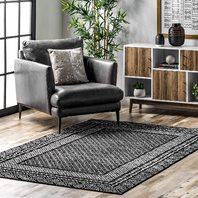 "nuLOOM Arabella Contemporary Bordered Area Rug, 6' 7"" x 9', Black"
