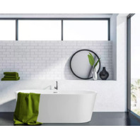 Freestanding acrylic bathtub with polished chrome overflow and pop-up drain