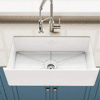 """Kraus Turino 33"""" Fireclay Farmhouse Apron Reversible Single Bowl Kitchen Sink"""