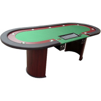 """IDS Poker Table 96"""" x 43"""" 10 Players Green Speed Cloth -  Wooden Legs"""