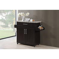 Hodedah Wheeled Kitchen Island with Spice Rack and Towel Holder, Chocolate/Gray
