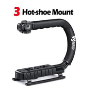 Zeadio Triple Hot-Shoe Mounts Handheld Stabilizer, Handle Grip