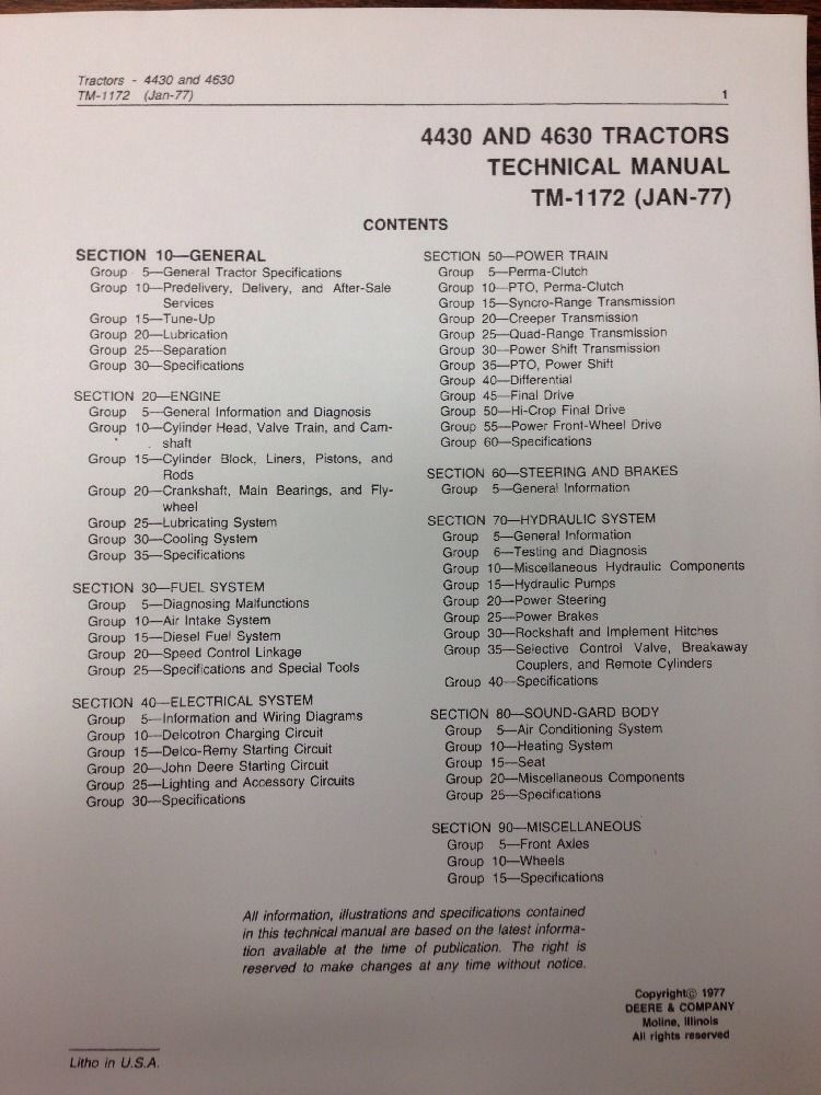 4430 Parts Manual