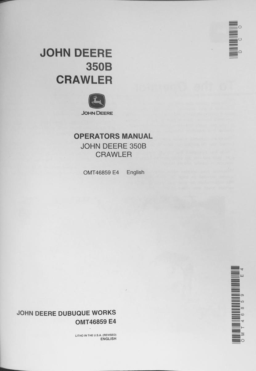 John deere 350 Crawler Manual