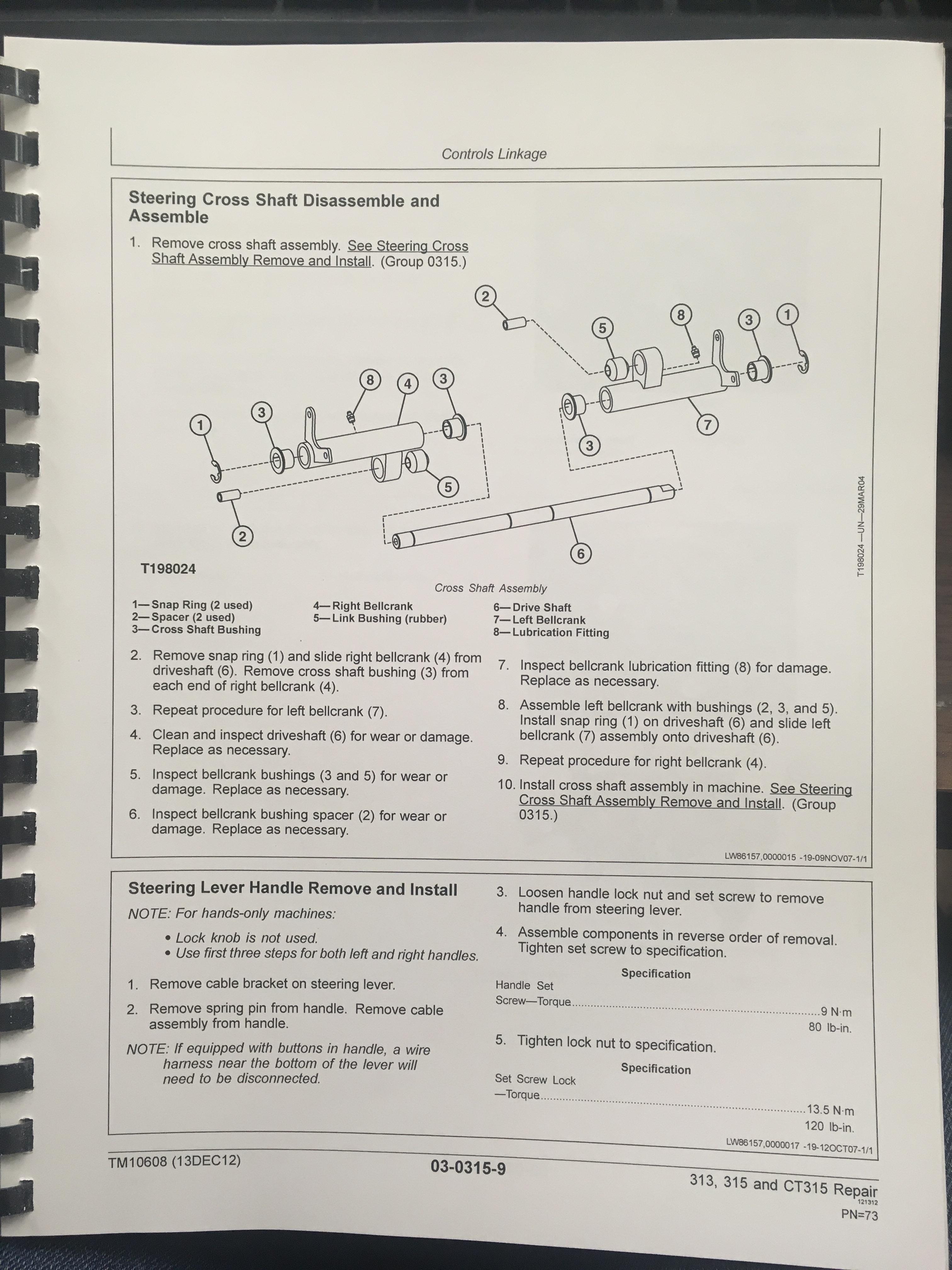 John Deere 313 315 Skid Steer CT315 Compact Track Loader Technical Manual  JD TM10608 Book