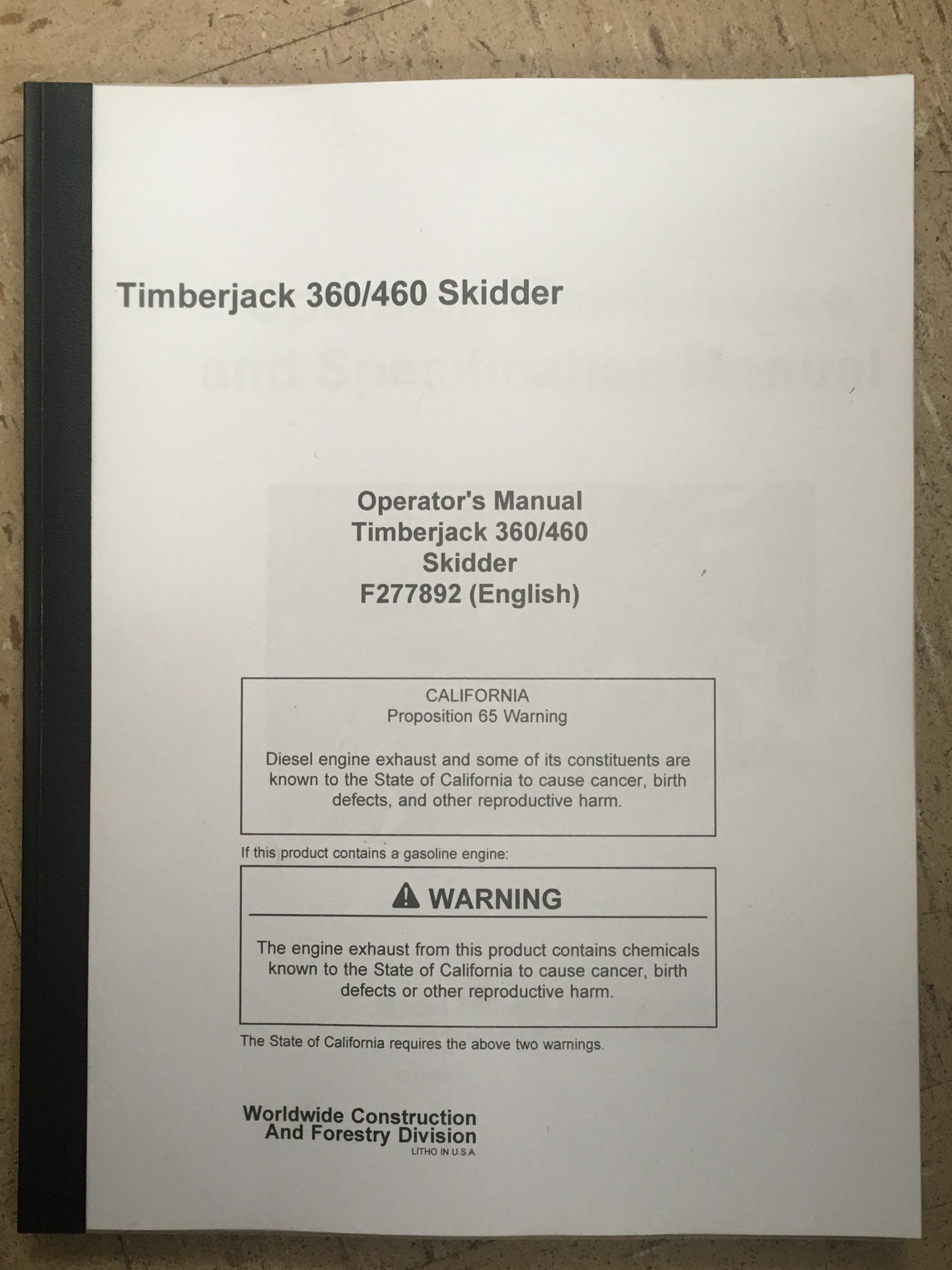 John Deere Timberjack 360 460 Skidder Operators Manual JD F277892 Book |  Finney Equipment and Parts