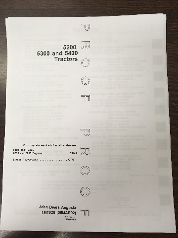John Deere 5200 5300 5400 Tractors Technical Manual Proof Edition JD TM1520 Book
