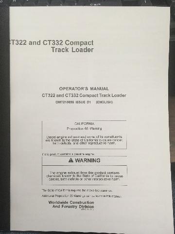 John Deere CT322 CT332 Compact Track Loader JD OMT215996 Book
