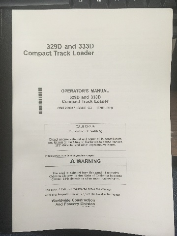 John Deere 329D 333D Compact Track Loader Operators Manual JD OMT253017 Book