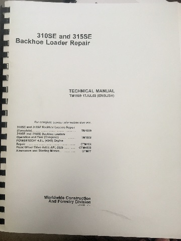 John Deere 310SE 315SE Backhoe Loader Repair Technical Manual JD TM1609 Book