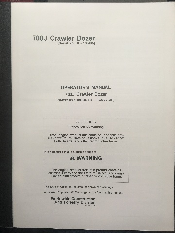 John Deere 700J Crawler Dozer Early Serial Number JD OMT211725 Book