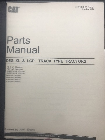 CATERPILLAR D5G XL & LGP Track Type Tractor Parts Manual CAT SEBP3363-41 Book