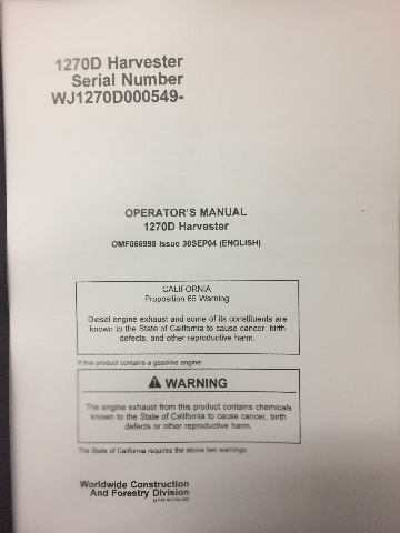 Timberjack 1270D Harvester Operators Manual OMF066998 (Check Serial Number)