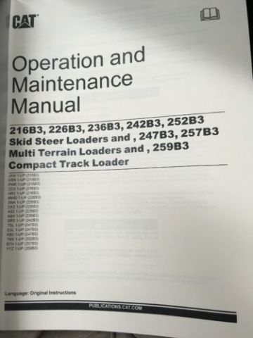 CATERPILLAR CAT 216B3 226B3 236B3 242B3 252B3 SKID STEER OPERATOR MANUAL SEBU8495