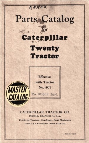 Caterpillar TWENTY 20 Tractor Parts Manual CAT P-1338 P1338 Book