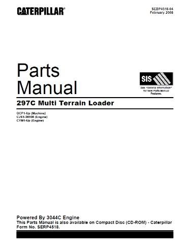 Caterpillar 297C Multi Terrain Loader Parts Manual CAT SEBP4518 Book