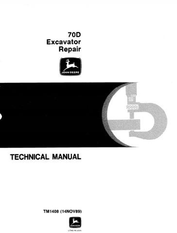 John Deere 70D Excavator Repair Manual JD Technical TM1408 Book