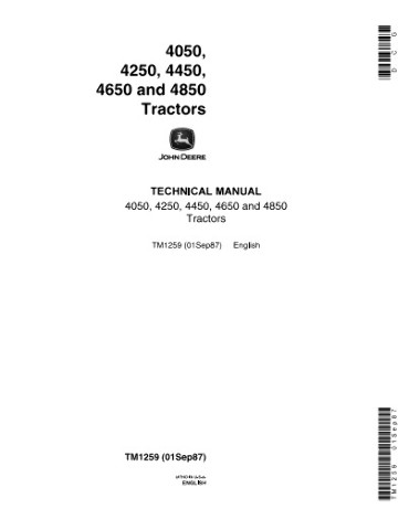 John Deere 4050 4250 4450 4650 4850 Tractors Technical Operation and Test Manual JD TM1259 Book