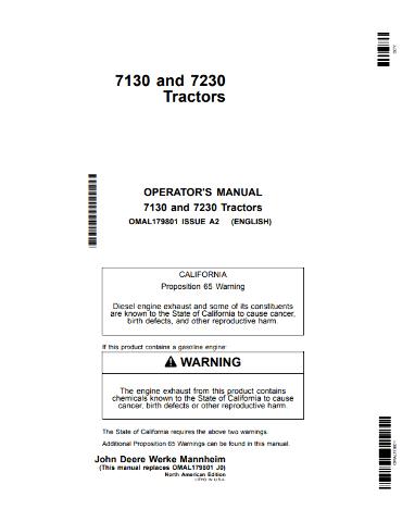 John Deere 7130 7230 Tractors Operators Manual JD OMAL179801 Operation Book