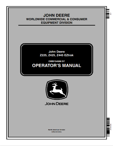 John Deere Z225 Z425 Z445 EZtrak Operators Manual JD OMM154566 Operation Book