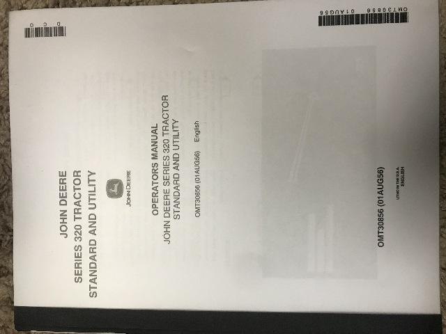 John Deere Series 320 Tractor Operators Manual JD OMT30856 Operation Book