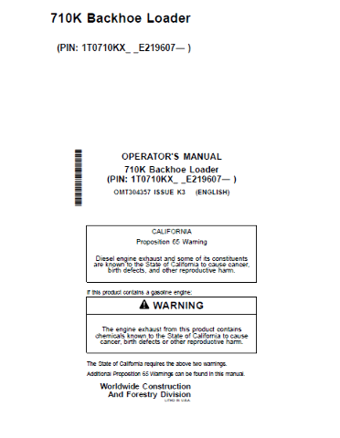 John Deere 710K Backhoe Loader Operators Manual JD OMT304357 Operation Book