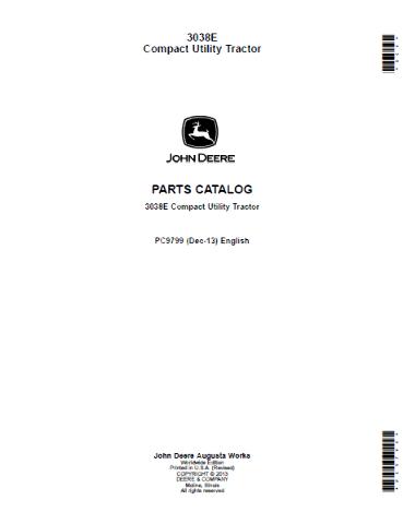 John Deere 3038E Compact Utility Tractor Parts Catalog JD PC9799 Book