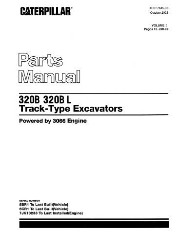 Caterpillar 320B 320BL Excavators Parts Manual CAT Catalog Book XEBP7645