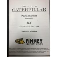Cat Caterpillar D3 Bulldozer PARTS MANUAL 79U 1 to 4708 UEG0652 UEG0652S