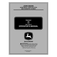 John Deere 240 250 High Serial Num Operator Manual JD OMKV18668 Book Late SN