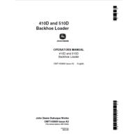 John Deere 410D 510D Backhoe Early SN Operator Manual OMT143669 Book