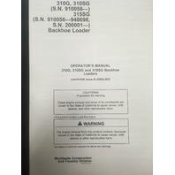 John Deere 310G 310SG 315SG Backhoe Loader Hi Serial Number Operators Manual JD OMT191038 Book