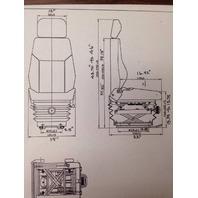 Caterpillar D6M D6N D6R D8R Suspension Seat 6W9744 Cat HIGH BACK w/ head rest