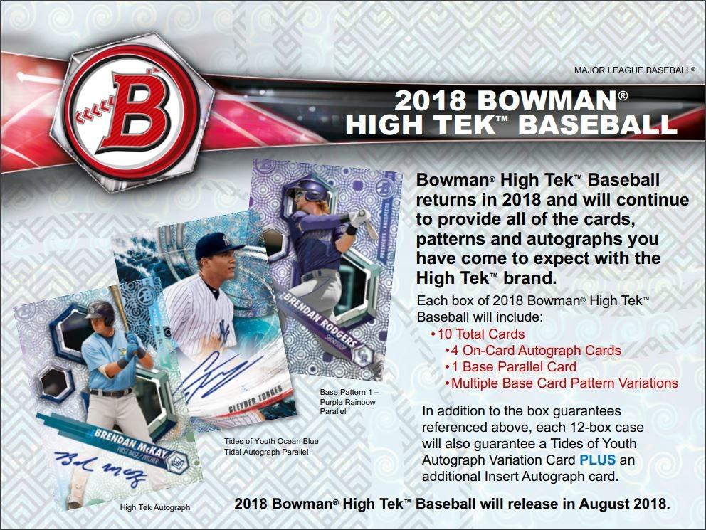 2018 Bowman High Tek Baseball Hobby Box 1 Pack10 Cardssealedrandom