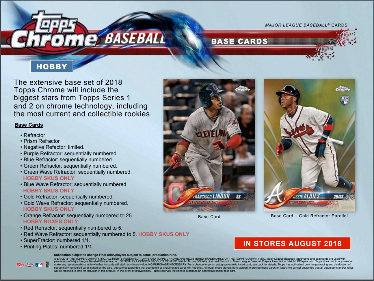 One1 2018 Topps Chrome Baseball Hobby 4 Card Pack Sealed Random