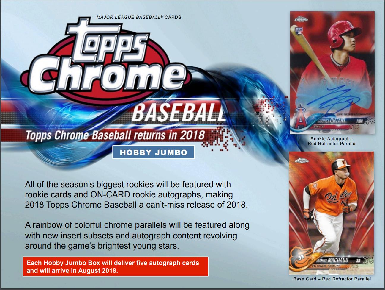 2018 Topps Chrome Baseball Hta Jumbo Hobby 8 Box Case Factory Sealed