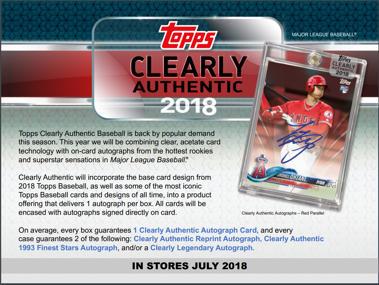 2018 Topps Clearly Authentic Baseball Hobby 1 Card Box 1 Packsealed