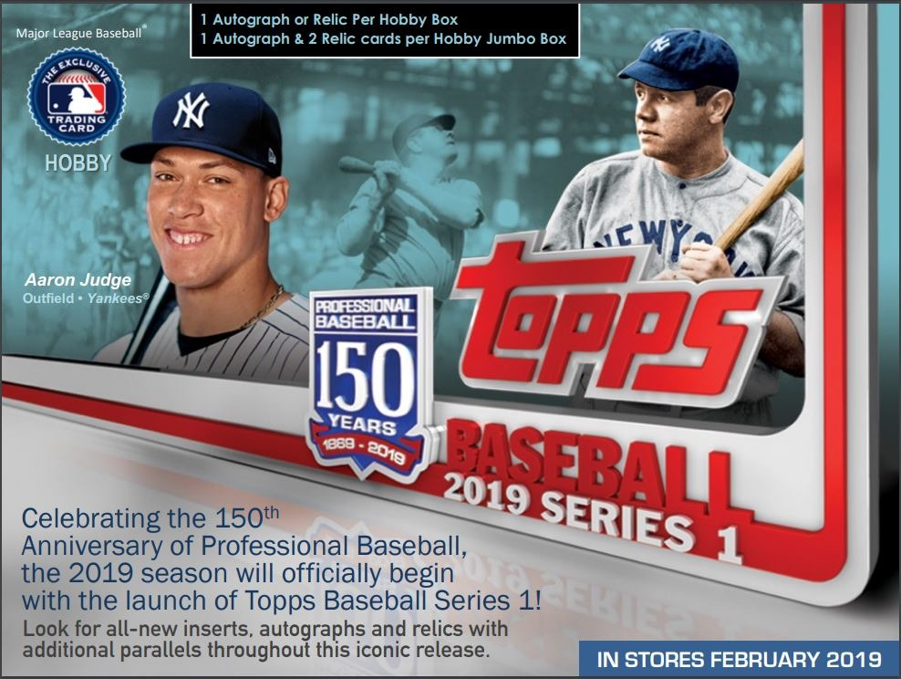 (3) Three 2019 Topps Series 1 Baseball Hobby PACKS (Factory Sealed)(Random)