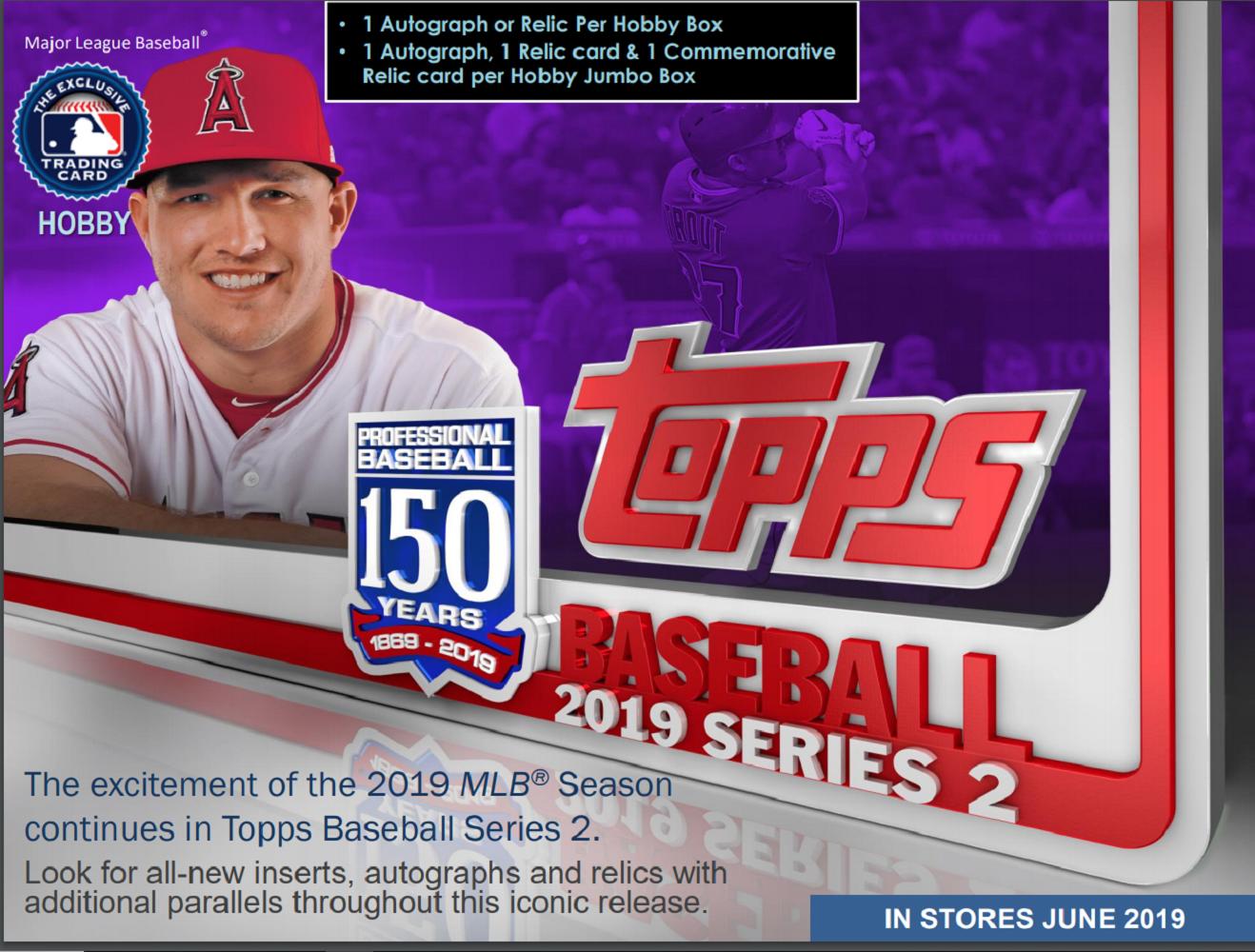 2019 Topps Series 2 Baseball Hobby 24 Pack BOX w/1 Silver Pack (Sealed)(Random)
