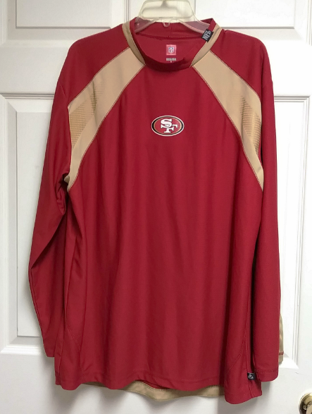 size 40 e4d0e 1fe0c NFL San Francisco 49ers Red & Gold Long Sleeve Mesh Shirt, Size L Large  Football
