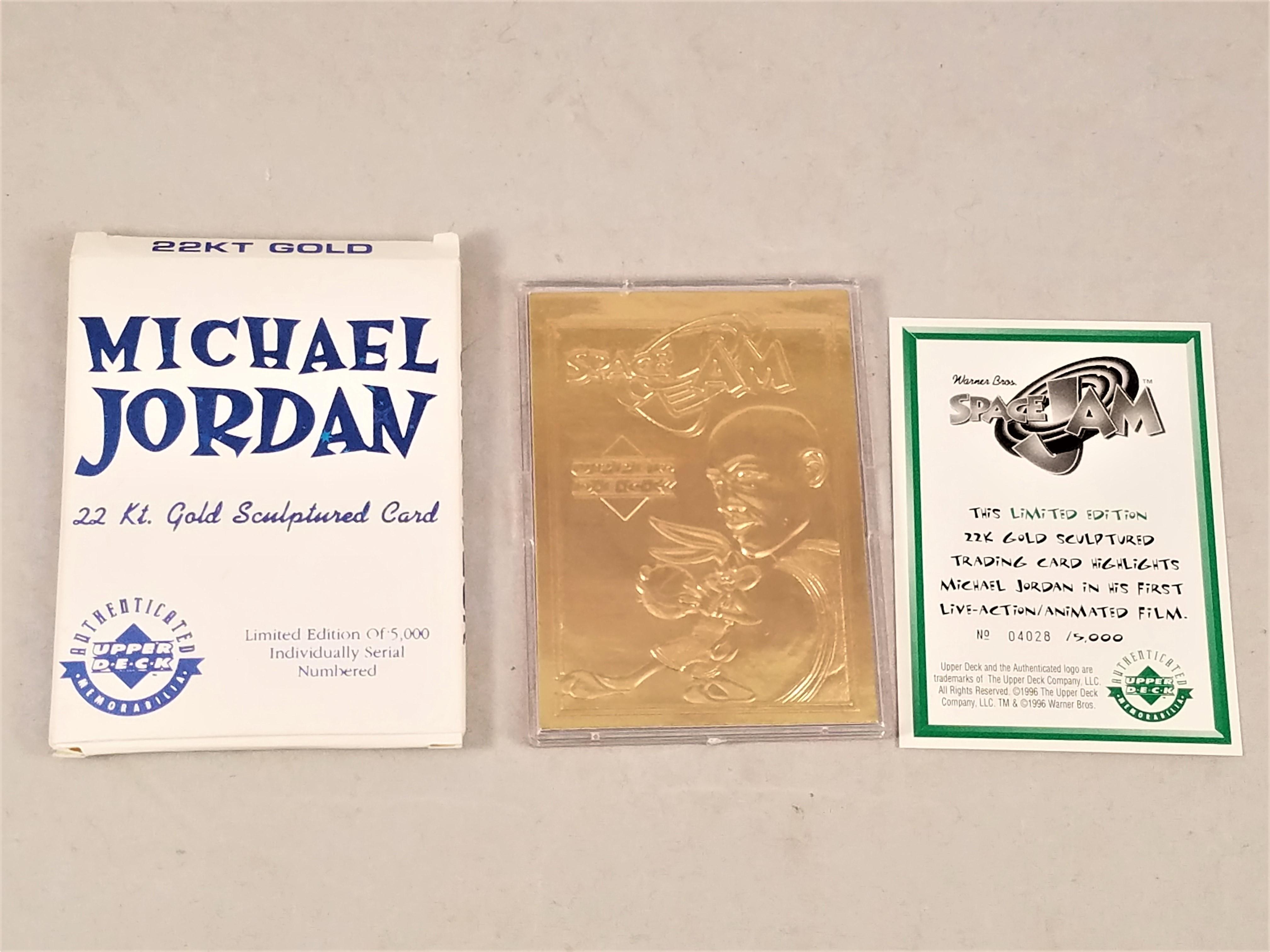 1996 Upper Deck Michael Jordan 22kt Gold Space Jam Card /5000 w/ Box & COA