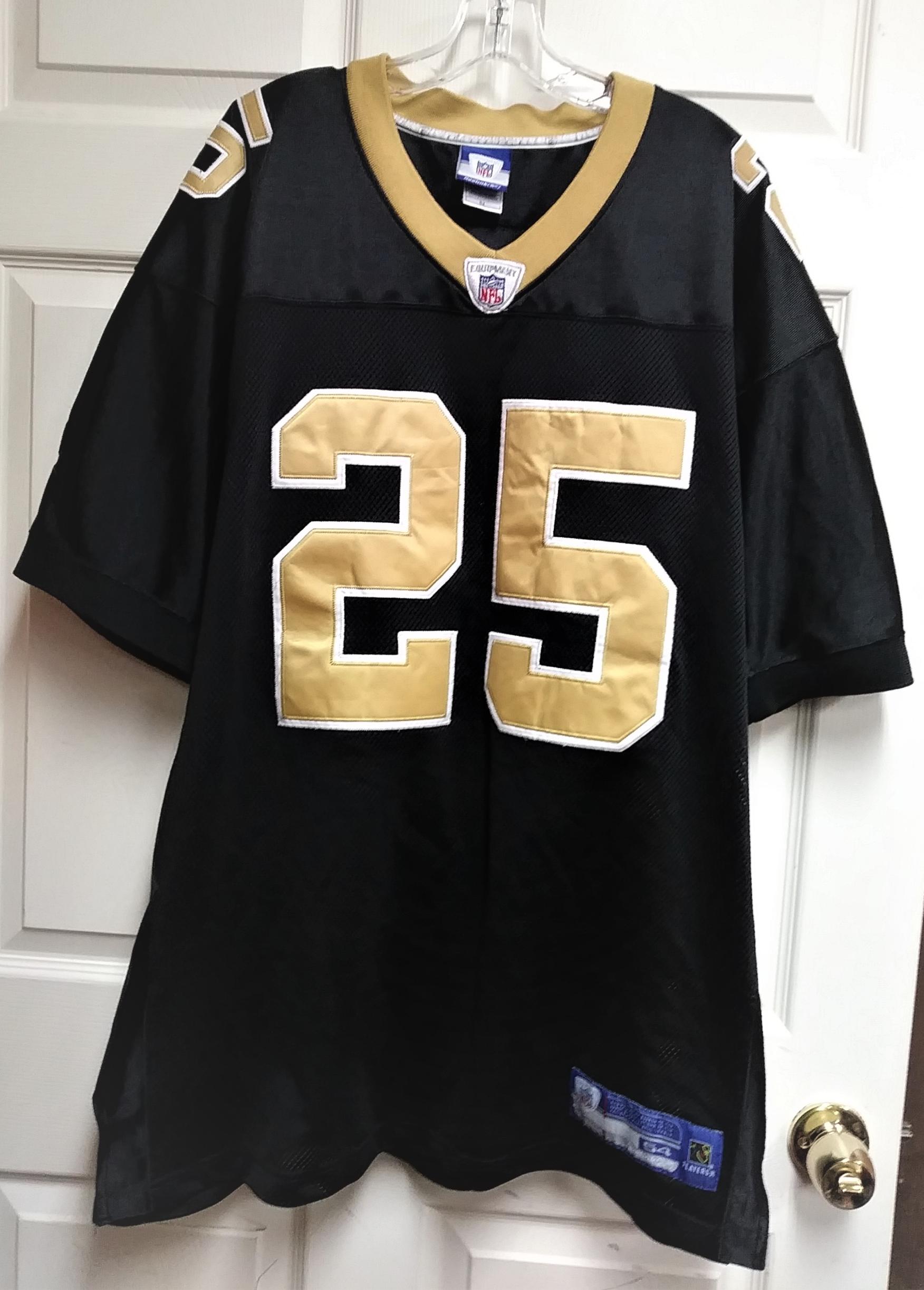 Reebok NFL Equipment Reggie Bush #25 Black Gold New Orleans Saints Jersey Sz 54