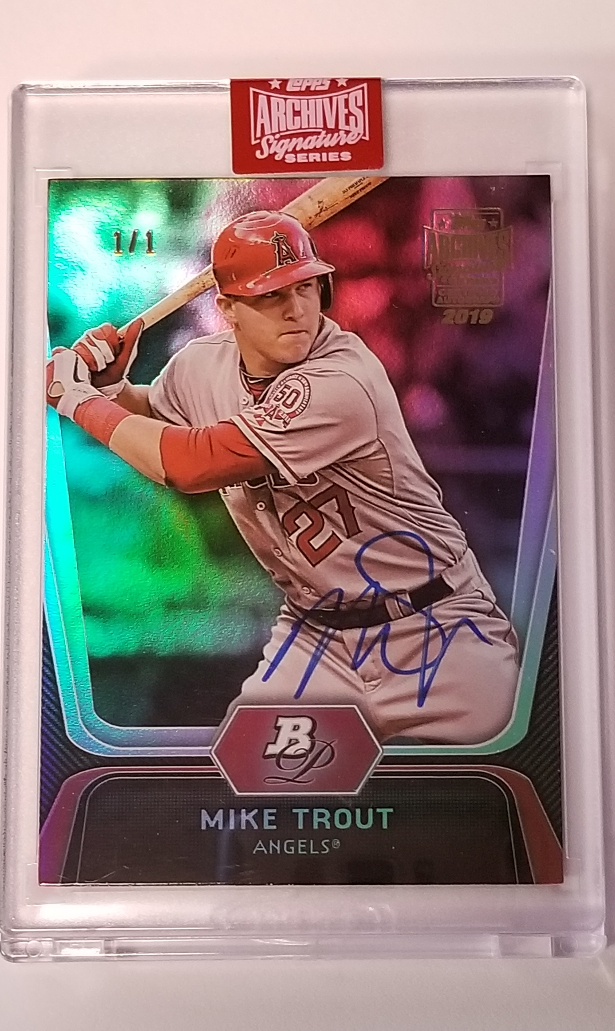 Mike Trout 2019 Topps Archives Signature Series 11 2012 Bowman Platinum