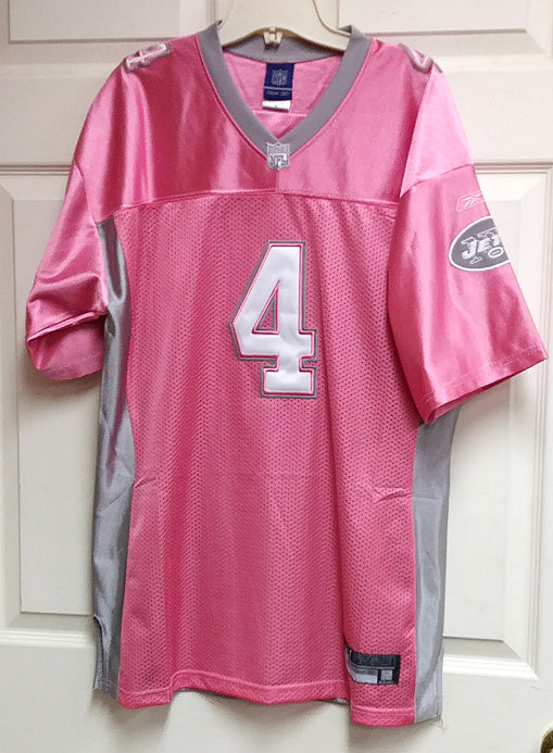 uk availability 1a150 9b226 Reebok Pink & Gray New York Jets Brett Favre #4 Jersey Shirt NFL Size 52