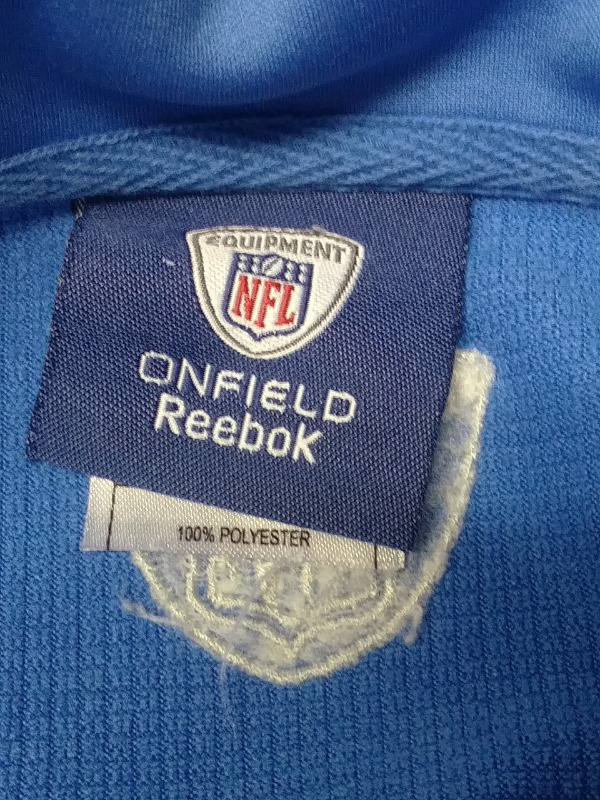 ... Reebok Onfield NFL Equipment Detroit Lions Blue 1 4 Zip Pullover Jacket  Size 2XL ... 3eae4d7ef