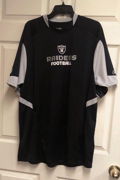 d53fb86f3 Reebok RBK Play Dry Black   Gray Oakland Raiders Shirt Mens Size XL NFL  Football