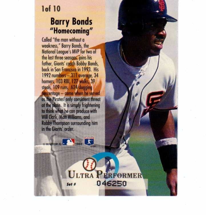 1993 Fleer Ultra Performers Complete 10 Card Set 150000 Mlb Barry Bonds Frank Thomas