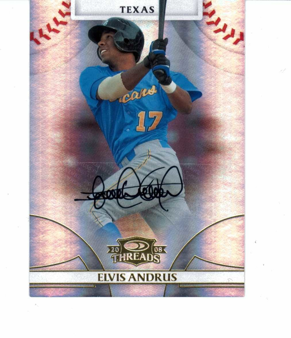 Elvis Andrus 2008 Donruss Threads Signatures Gold Autograph #100 auto /749
